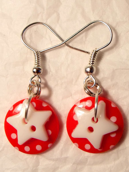 Red & White Polka Dot & Star Button Earrings