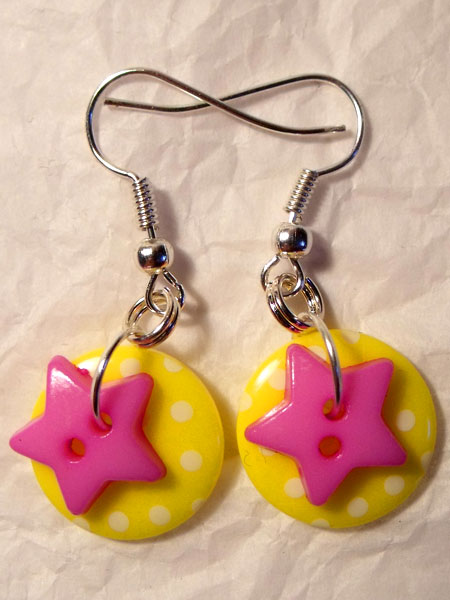 Yellow & Purple Polka Dot & Star Button Earrings