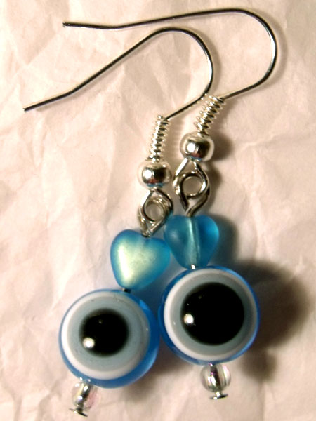 Blue Evil Eye & Heart Earrings - Click Image to Close