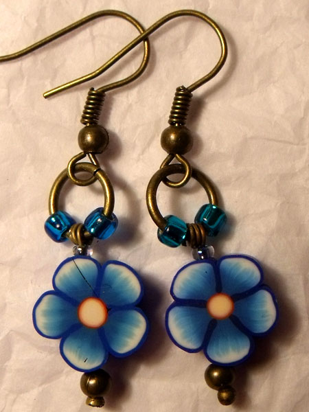 Cute Blue Flower Earrings