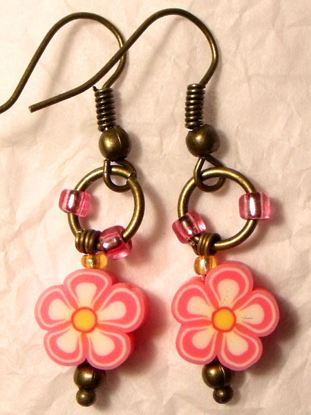 Cute Pink Flower Earrings
