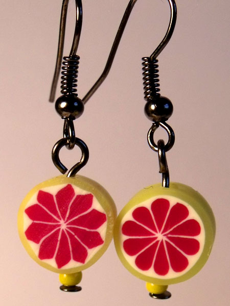 Grapefruit Cute Fruit Earrings