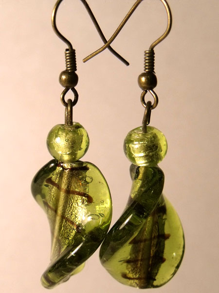 Green Twisted Foil Glass Earrings