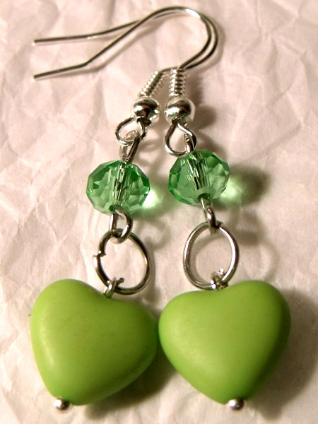 Green Hearts & Crystal Earrings