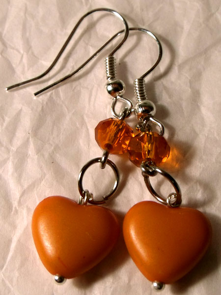 Orange Hearts & Crystal Earrings