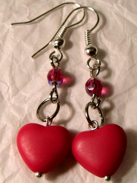 Pink Hearts & Crystal Earrings