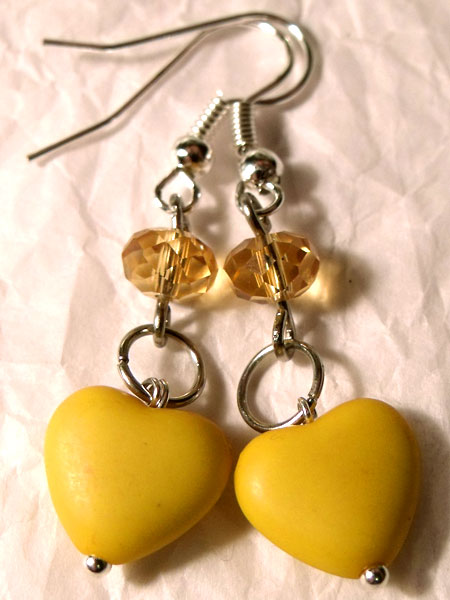 Yellow Hearts & Crystal Earrings