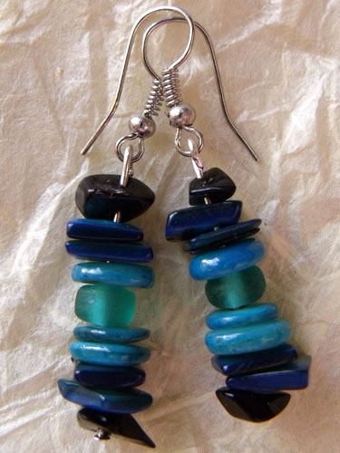 Blue Black Glass Chip & Shell Earrings