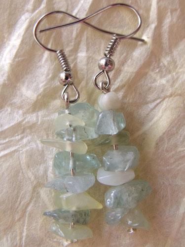 Pale Green Glass Chip Earrings