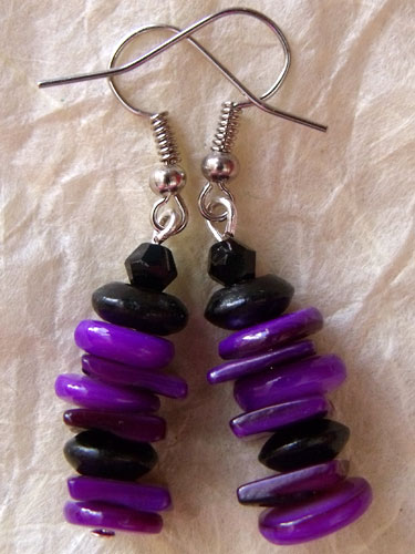 Purple & Black Shell Earrings