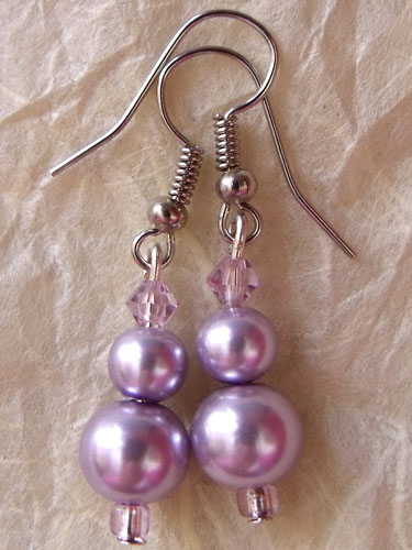 Purple Lilac Pearly Earrings