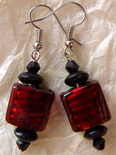 Red Foil Glass Flat Cube Earrings
