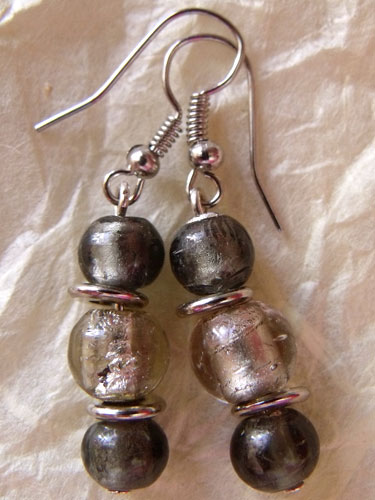 Silver Grey Foil Glass Earrings