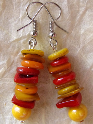 Red, Orange & Yellow Shell Earrings