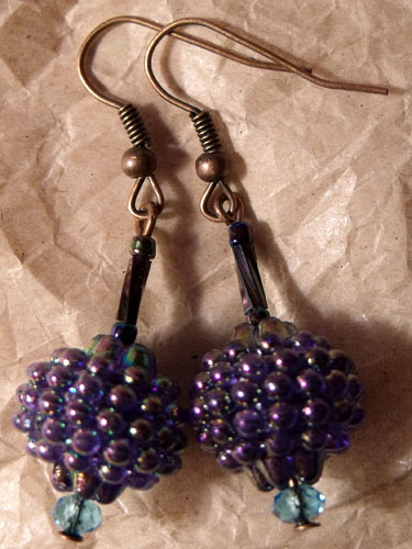 Purple/Blue Iridescent Berry Earrings
