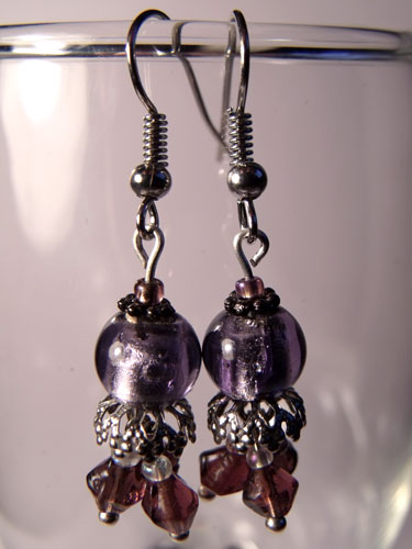 Purple Glass Foil & Droplet Earrings - Click Image to Close