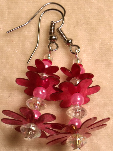 Bright Pink Beads & Three Flower Sequin Earrings
