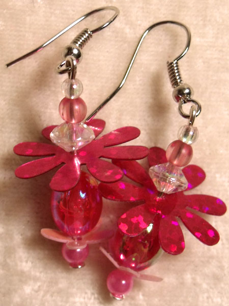 Bright Pink Beads & Flower Sequin Earrings