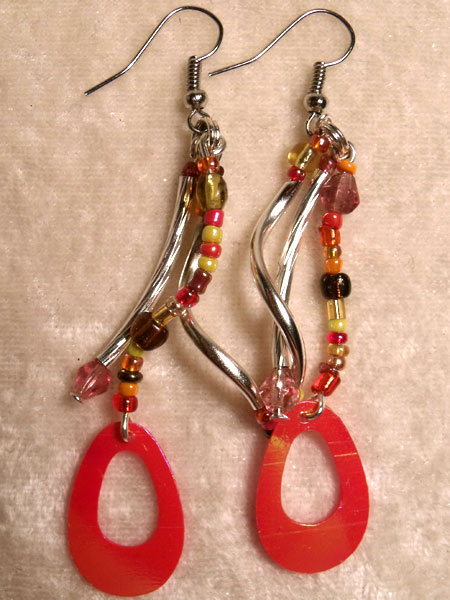 Red, Orange, Yellow and Bronze Spiral Earrings