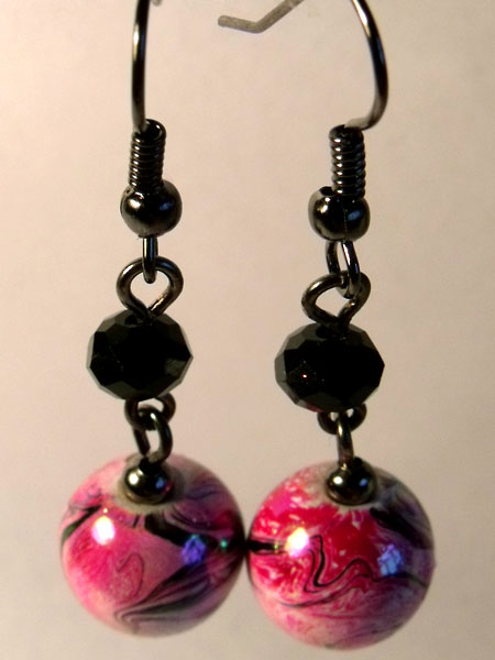 Pink Iridescent Marbled Earrings