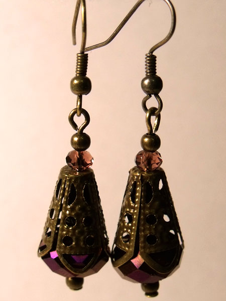 Purple Metallic Faceted Crystal & Bronze Filigree Earrings