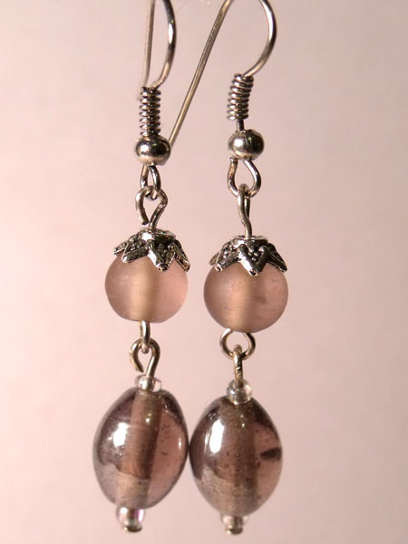 Pink Purple Glass Earrings