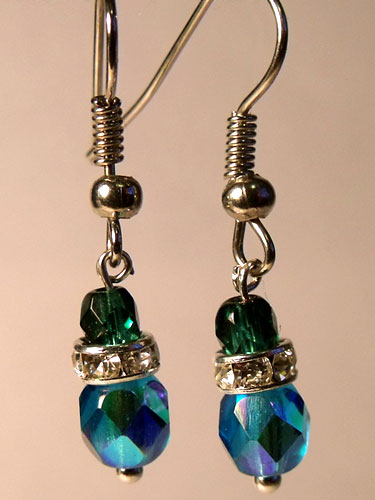 Blue Faceted Crystal & Sparkly Rhinestone Small Earrings