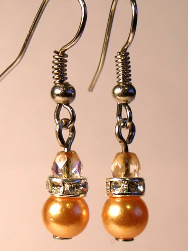 Orange Pearly & Sparkly Rhinestone Small Earrings