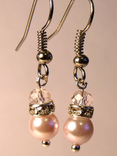 Pink (light) Pearly & Sparkly Rhinestone Small Earrings