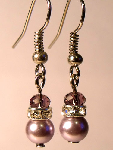 Purple Pearly & Sparkly Rhinestone Small Earrings
