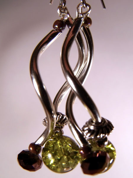 Green Crackle Glass and Silver Spiral Earrings