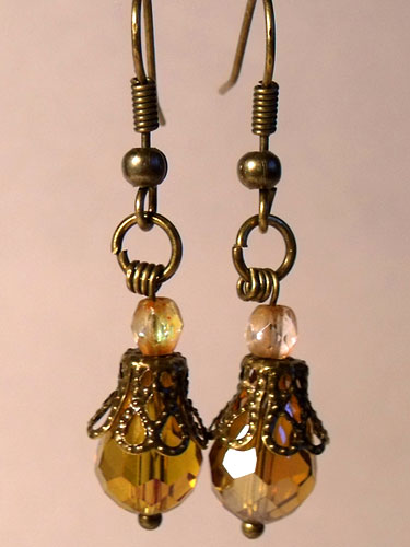 Amber Faceted Crystal & Bronze Filigree Teardrop Earrings