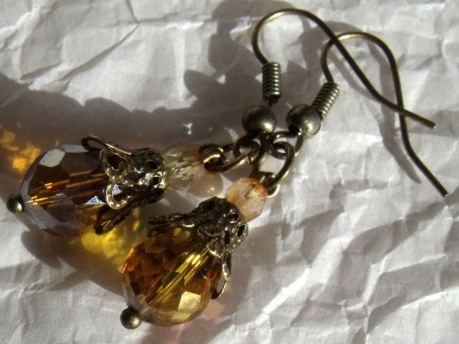 Amber Faceted Crystal & Bronze Filigree Teardrop Earrings - Click Image to Close