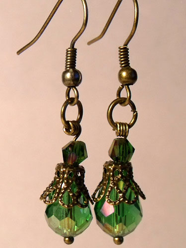 Green Faceted Crystal & Bronze Filigree Teardrop Earrings