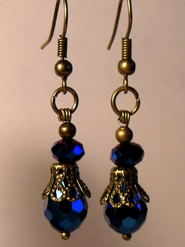 Blue Metallic Faceted & Bronze Filigree Teardrop Earrings