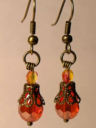 Orange Faceted Crystal & Bronze Filigree Teardrop Earrings