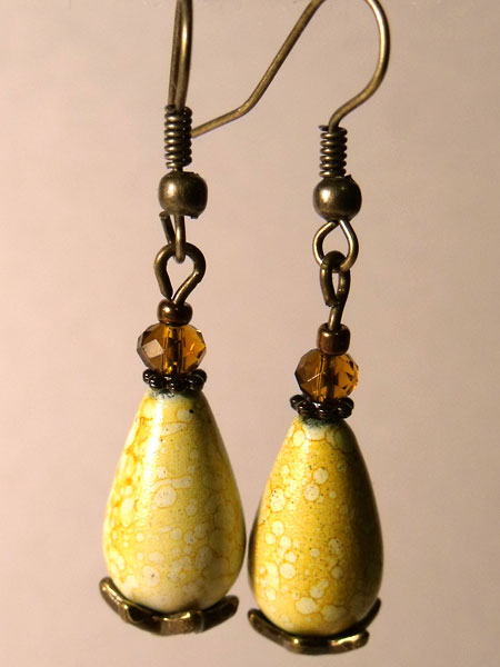 Yellow Marbled Teardrop Earrings