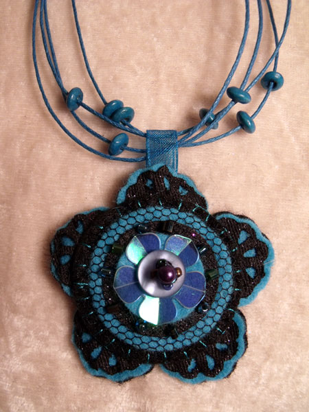 Blue Flower Felt Necklace