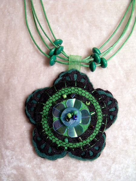 Green Flower Felt Necklace