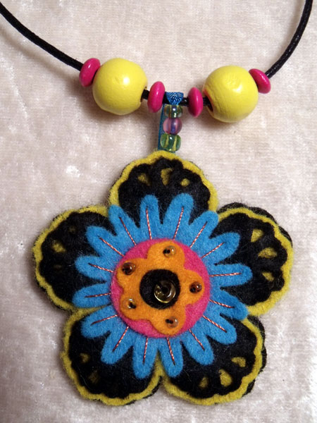 Yellow & Blue Multi-Coloured Flower Felt Necklace