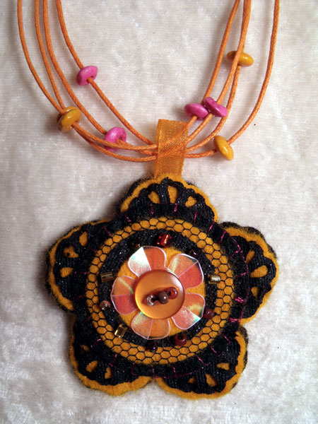 Orange Flower Felt Necklace