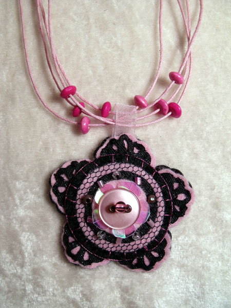 Light Pink Flower Felt Necklace