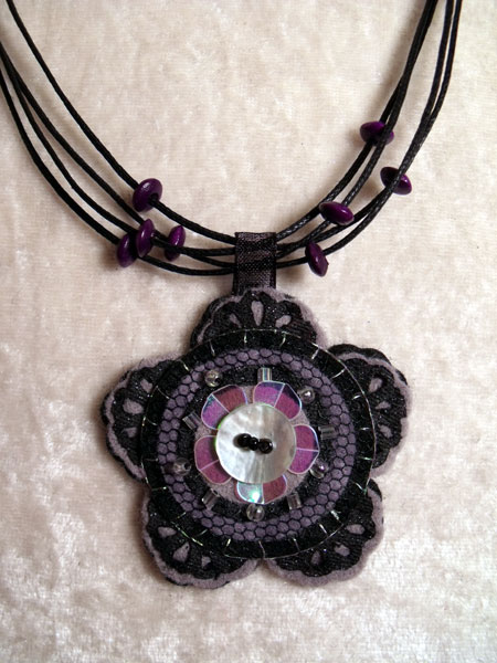 Slate Grey Flower Felt Necklace
