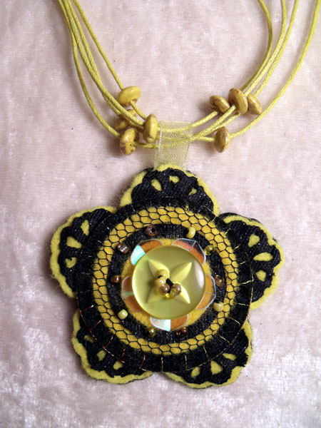Yellow Flower Felt Necklace