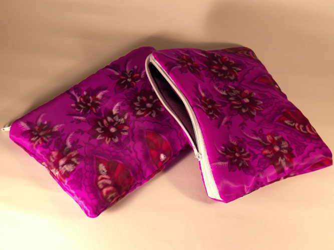 Pink Red Maroon Flowers Make-up Bag