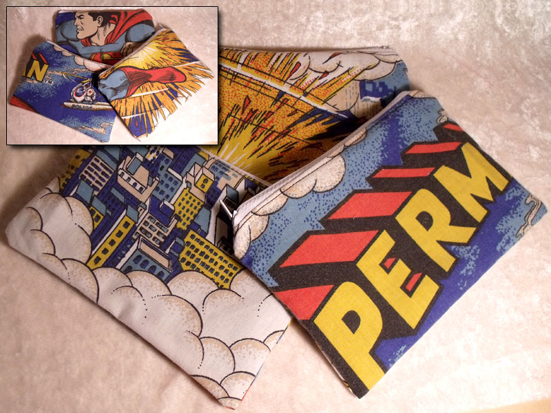 Superman 1970''s Vintage Upcyled Make-up Bag