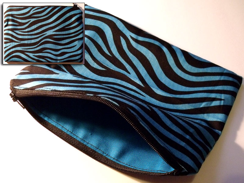 Blue & Black Zebra/Tiger Stripes Make-up Bag