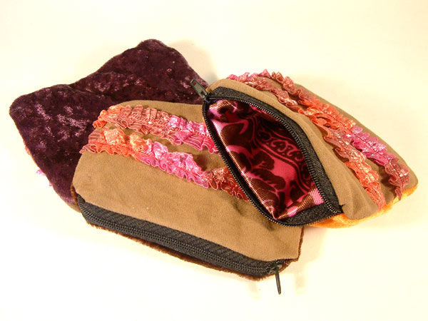 Faux Suede, Ribbon & Velvet Coin Purse