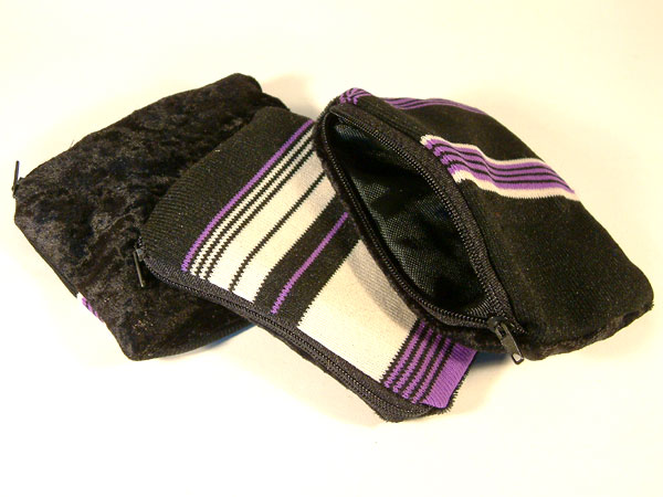 Black Purple White Stripes & Black Velvet Coin Purse