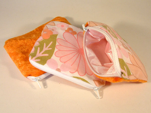 Pink Orange Green Floral & Velvet Coin Purse